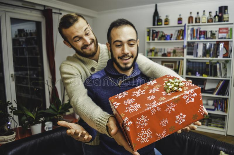 Lyckliga förvånade unga stiliga glade par som hemma firar och ger gåvan royaltyfri foto