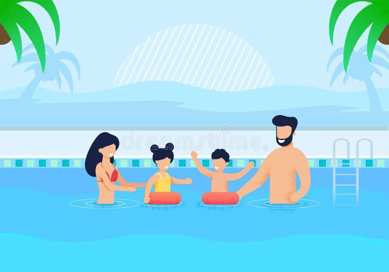 Lyckliga familjen som den har, vilar i simbass?ngtecknad film royaltyfri illustrationer
