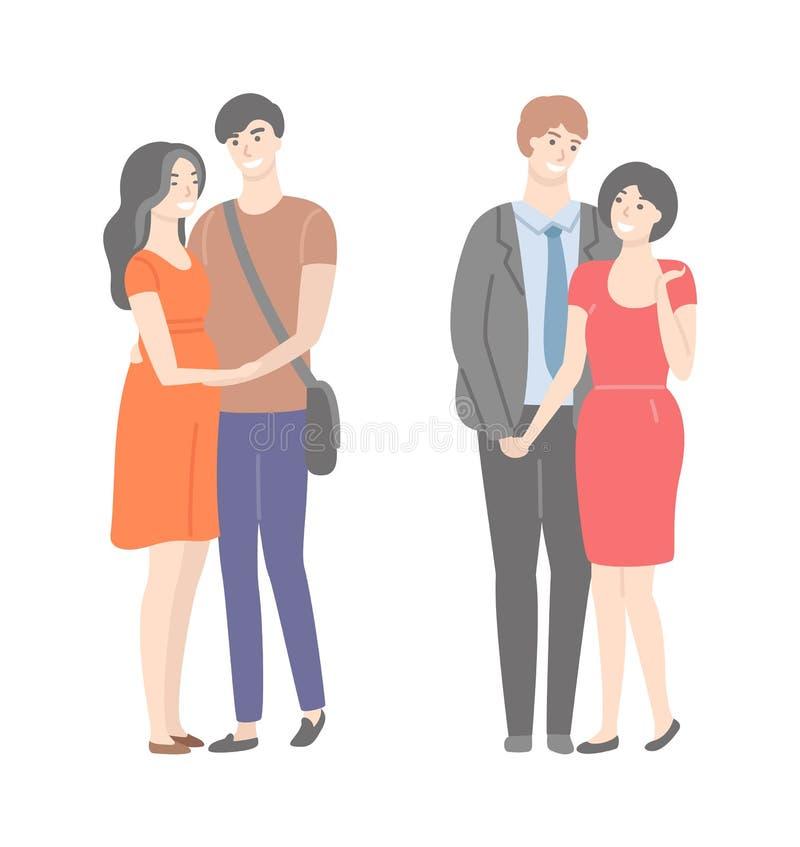 Lyckliga familjer, fru och make i isolerade kramar royaltyfri illustrationer