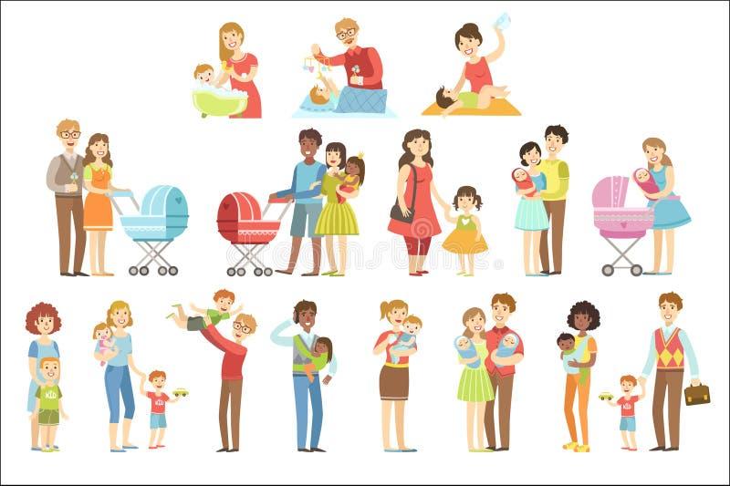 Lyckliga familjer med sm?barn s?nker illustrationen f?r vektorn f?r f?rg f?r barnslig tecknad filmstil den ljusa p? vit bakgrund vektor illustrationer