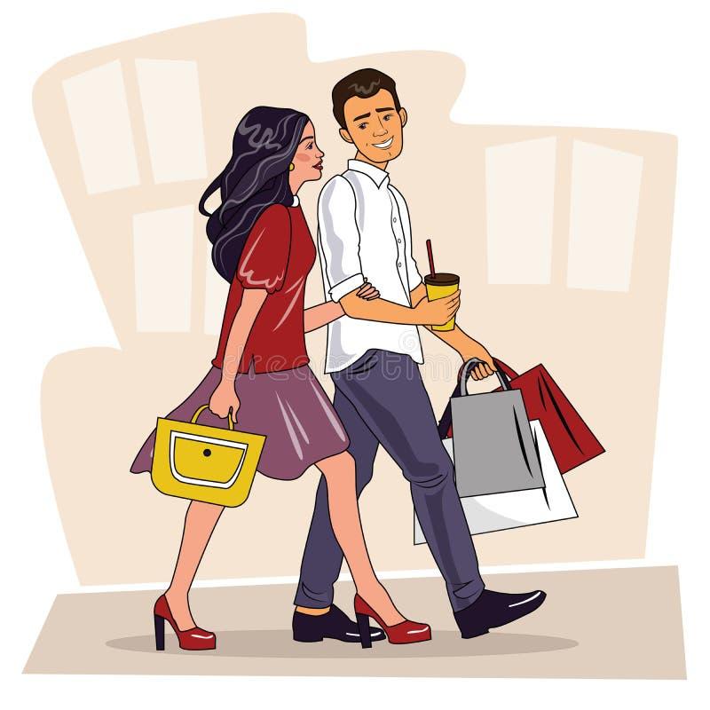 Lyckliga familjpar med shopping Härlig man och kvinna med shoppingpåsar som går på gatan stor försäljning Shoppa par royaltyfri illustrationer