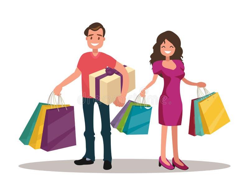 Lyckliga familjpar med shopping kvinna för påseman stor försäljning vektor illustrationer
