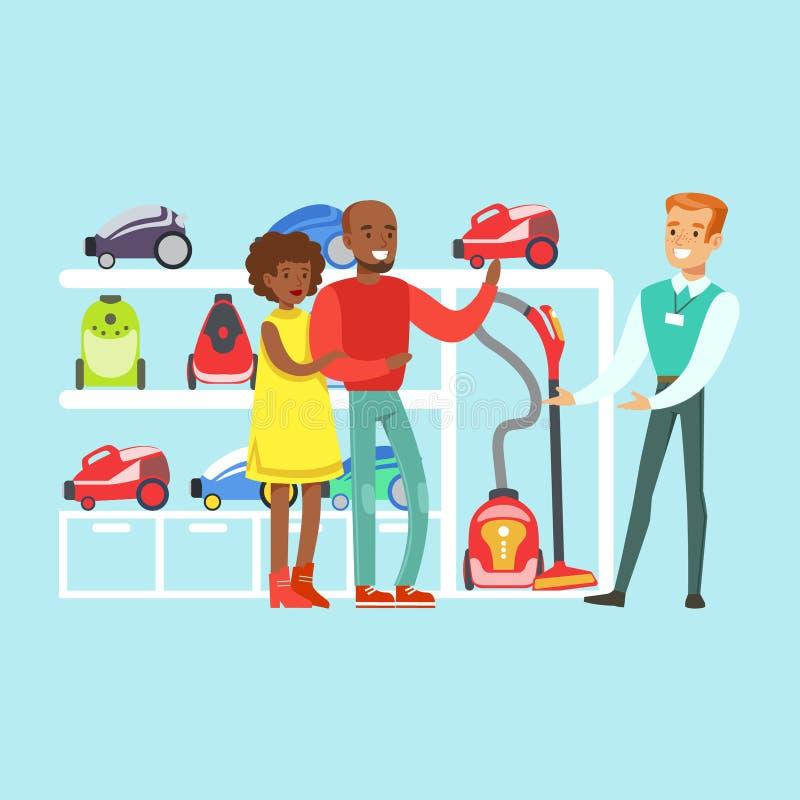 Lyckliga familjpar som väljer en dammsugare med, shoppar assistenthjälp i vektor för lager för hem- anordning färgrik stock illustrationer