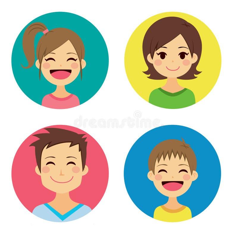 Lyckliga familjstående vektor illustrationer
