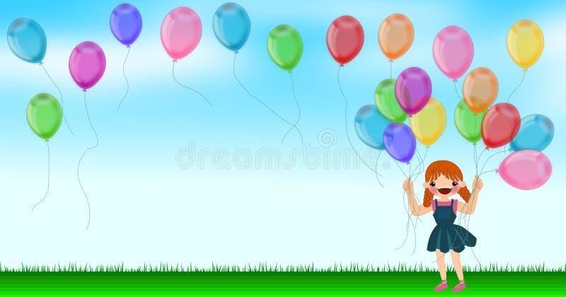 Lyckliga flickaungar och ballonger vektor illustrationer