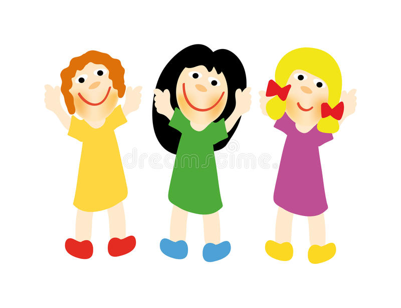 lyckliga flickor vektor illustrationer