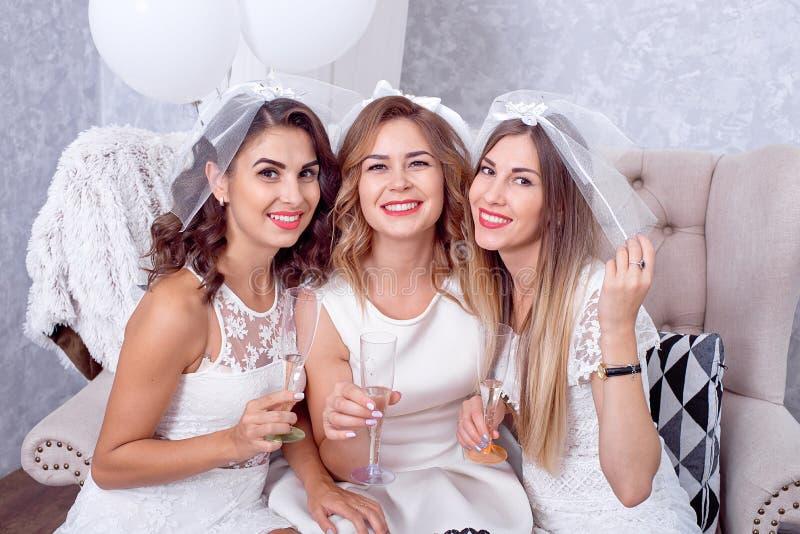 Lyckliga flickor som har gyckel som dricker champagne, möhippa royaltyfri foto