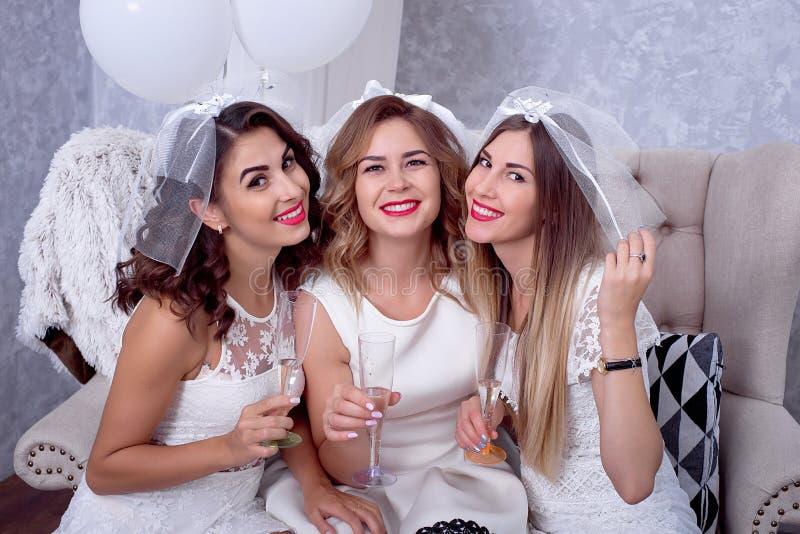 Lyckliga flickor som har gyckel som dricker champagne, möhippa fotografering för bildbyråer