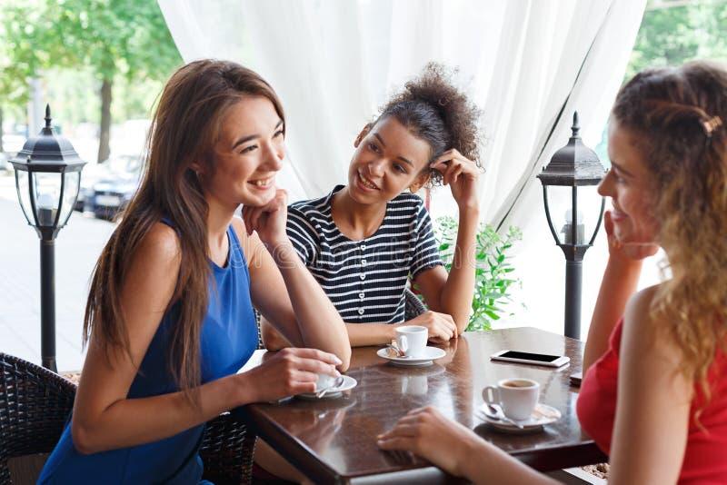 Lyckliga flickor som sitter i kafét och samtalet arkivbilder