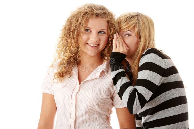 lyckliga flickvänner tala två barn royaltyfria foton