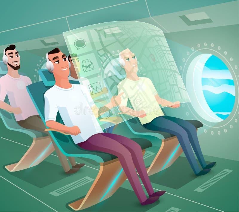 Lyckliga flygbolagklienter i futuristisk plan vektor stock illustrationer