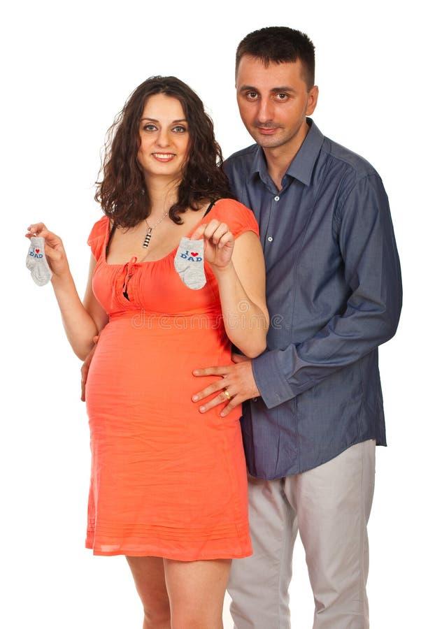 Lyckliga framtida föräldrar arkivfoto
