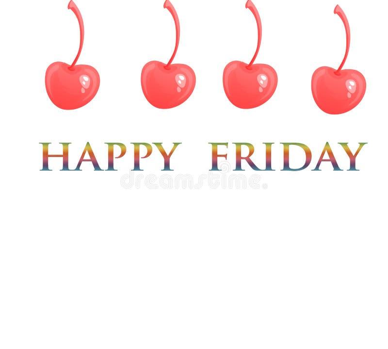 Lyckliga friday Innehåll för massmedia för vektortypografidesign lyckliga fredag på en vit bakgrund med den röda körsbärsröda söt vektor illustrationer