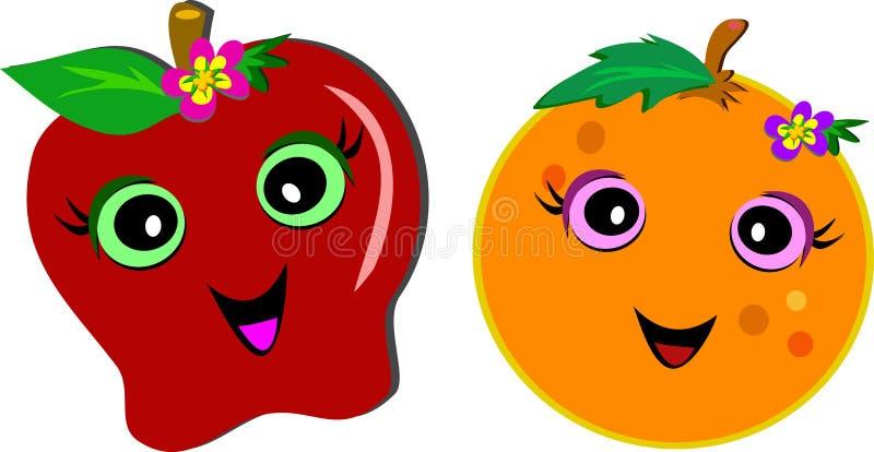 Download Lyckliga fruktpar stock illustrationer. Illustration av vitaminer - 27288190