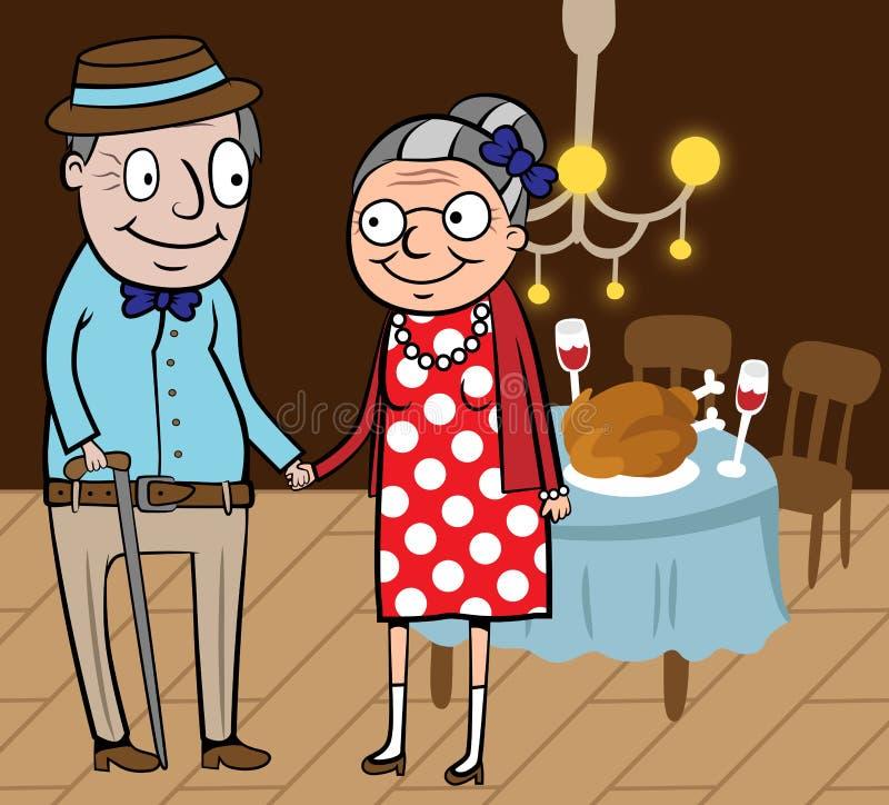 Lyckliga gamla par firar tacksägelsedag royaltyfri illustrationer