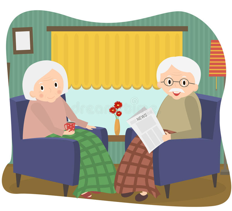 Lyckliga gammala par tillsammans Pensionärparet sitter i en stol hemma också vektor för coreldrawillustration vektor illustrationer