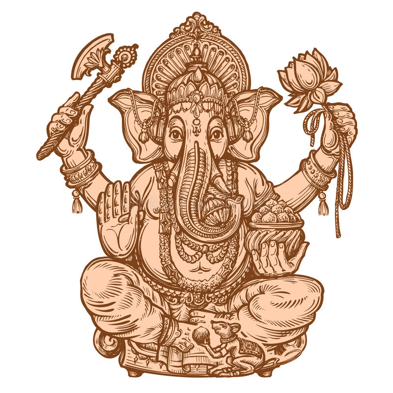 Lyckliga Ganesh Chaturthi Hand-dragit skissa också vektor för coreldrawillustration royaltyfri illustrationer