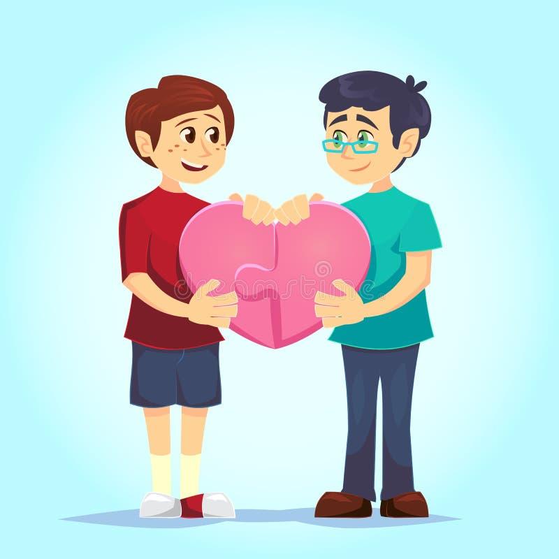 Lyckliga glade gulliga homosexuella maker som ler det unga satta tillsammans hjärta-formade pusslet för män lovingly förbunden fö vektor illustrationer