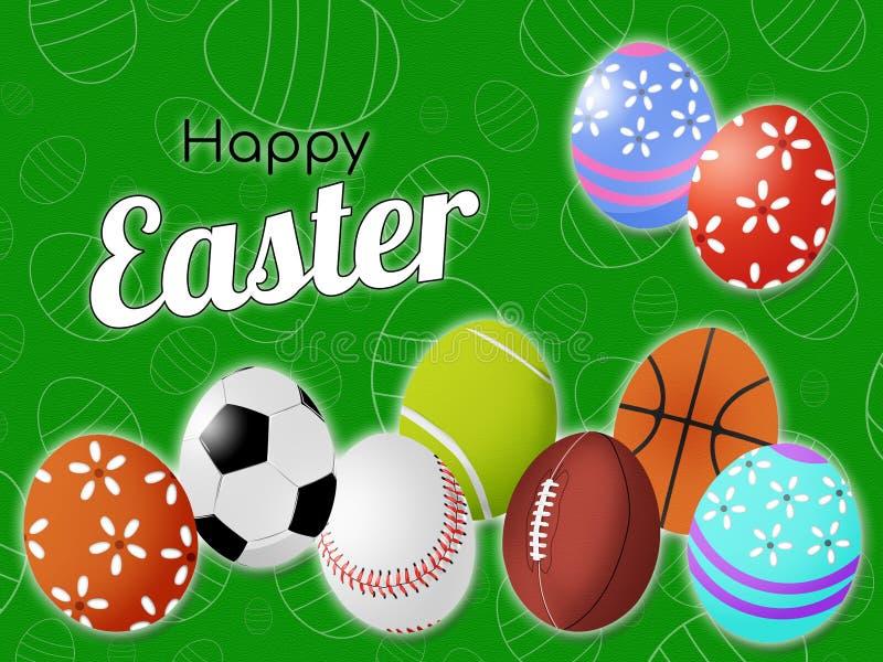Lyckliga hälsningar för sportar för påskvykorträkning på bakgrunden av fältet och med bollar i formen av ett ägg och dekorativt stock illustrationer
