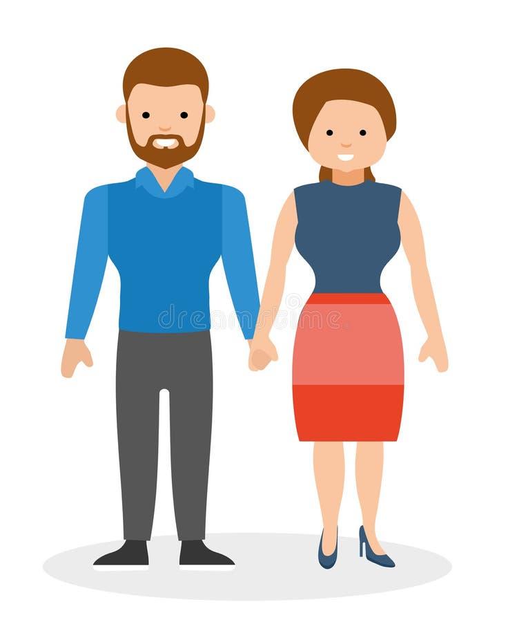 Lyckliga händer och le för parinnehav royaltyfri illustrationer