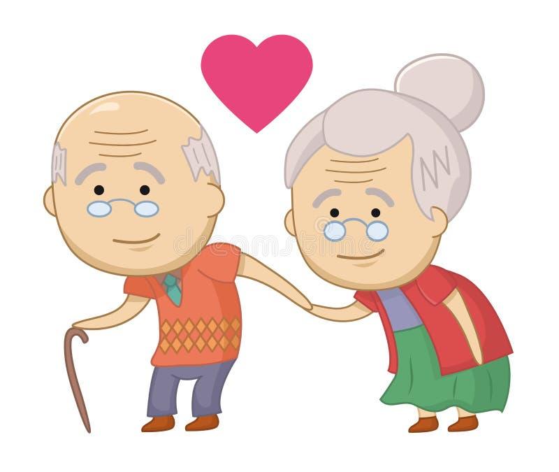 Lyckliga höga par för rolig vektor Starka f?rh?llanden Gamla m?nniskor f?r tillsammans Design f?r trycket, emblem, t-skjorta, par royaltyfri illustrationer