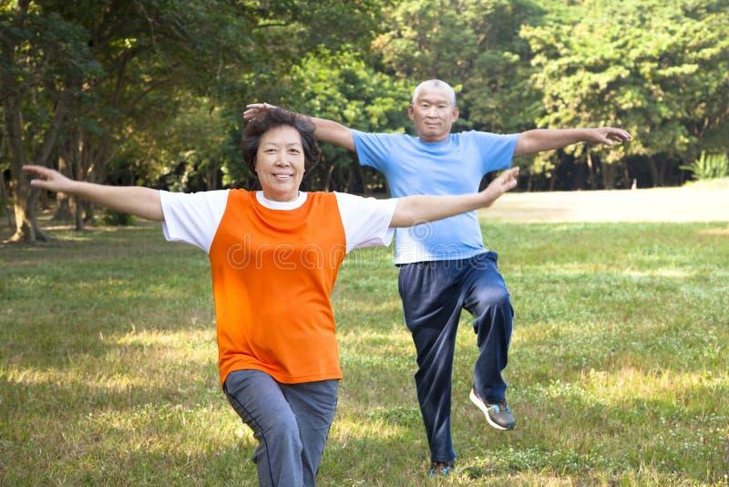 Lyckliga höga par i parken arkivfoto
