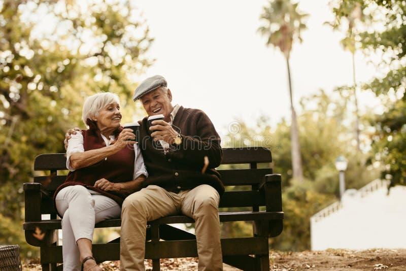 Lyckliga höga par som har picknick i parkera arkivfoto