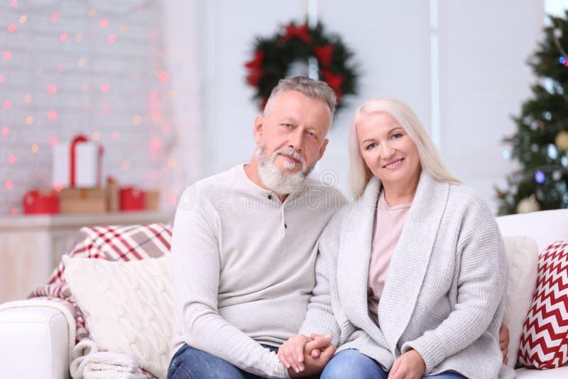 Lyckliga höga par som hemma vilar på julhelgdagsafton arkivfoton