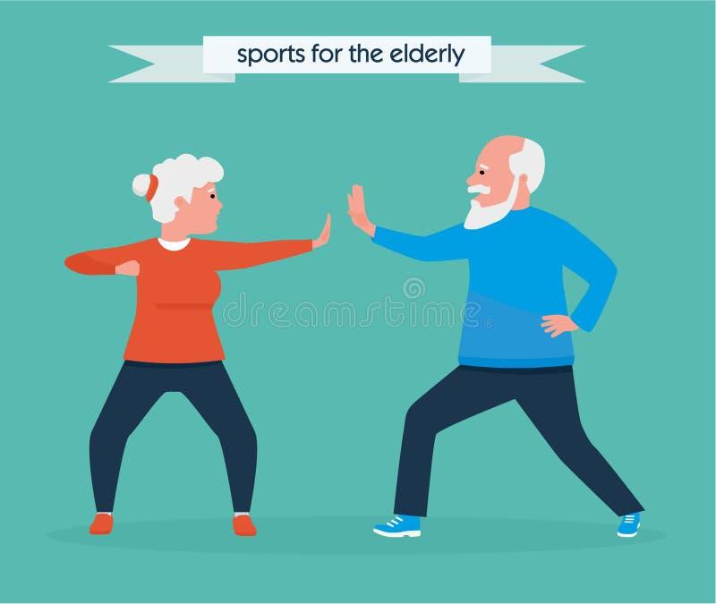 Lyckliga höga par som tillsammans joggar i parkera också vektor för coreldrawillustration sund livsstil för begrepp Aktivt sportb royaltyfri illustrationer