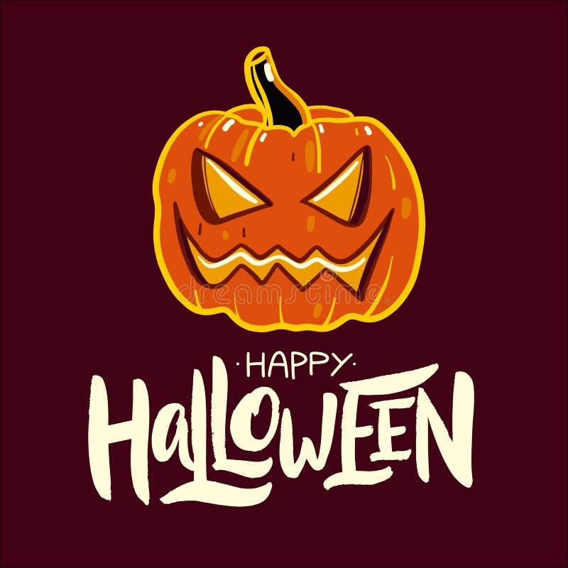 lyckliga halloween baner Hand dragen bokstäver royaltyfri illustrationer