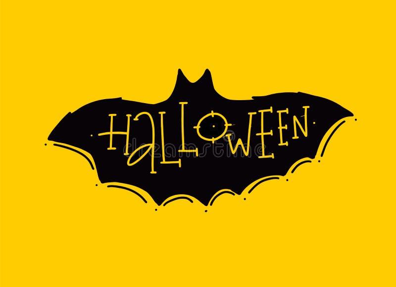 lyckliga halloween baner Hand dragen bokstäver Modern borstekalligrafi stock illustrationer
