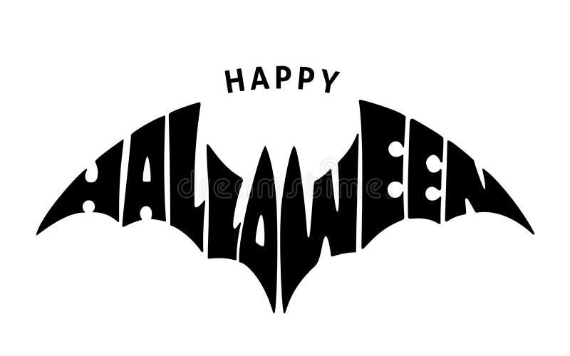 lyckliga halloween Bokstäver i konturslagträ royaltyfri illustrationer
