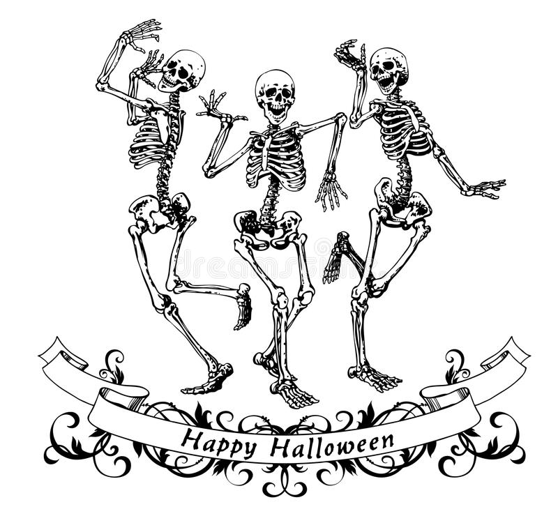 Lyckliga halloween dansskelett isolerade vektorillustrationen royaltyfri illustrationer