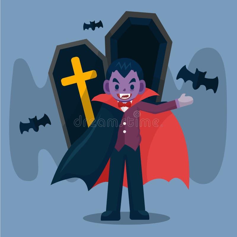 lyckliga halloween Dracula vampyr som bär svart och röd udde med slagträet Dracula teckenillustration, gullig tecknad filmvektor royaltyfri illustrationer