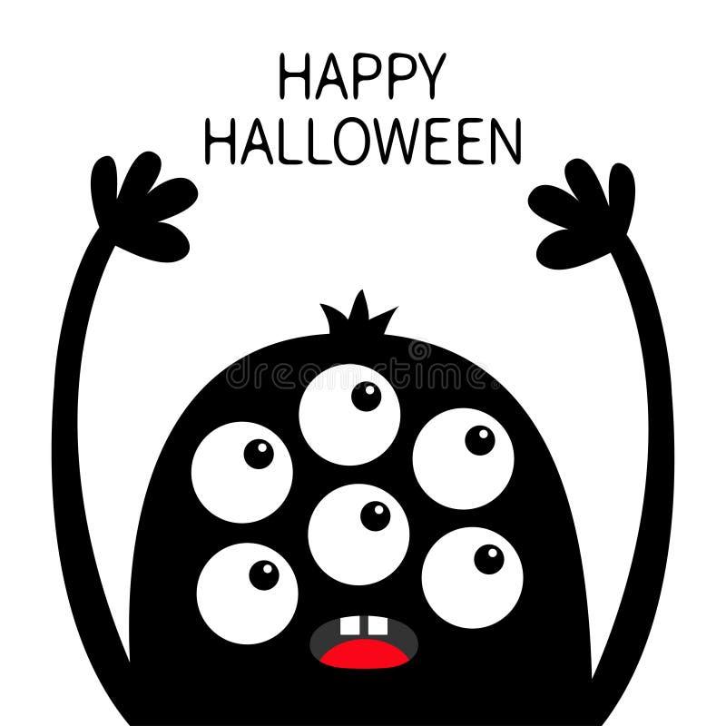 lyckliga halloween Gigantisk huvudsvartkontur Sex ögon, tänder, tunga, händer upp Roligt tecken f?r gullig kawaiitecknad film Beh vektor illustrationer