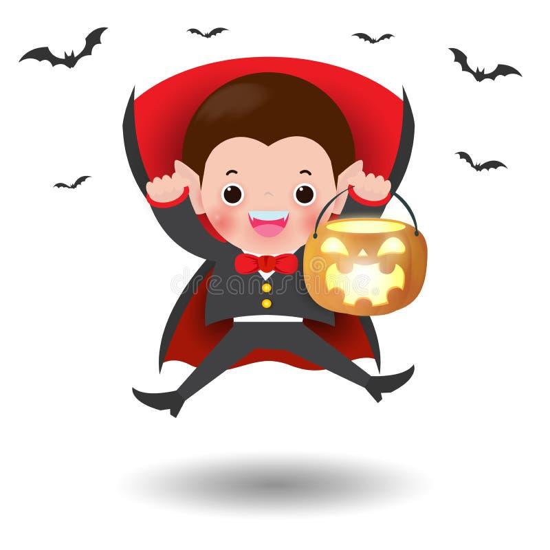 lyckliga halloween Gullig liten Dracula vampyr som rymmer pumpa och flyger slagträn, barn i den isolerade allhelgonaaftondräkten royaltyfri illustrationer