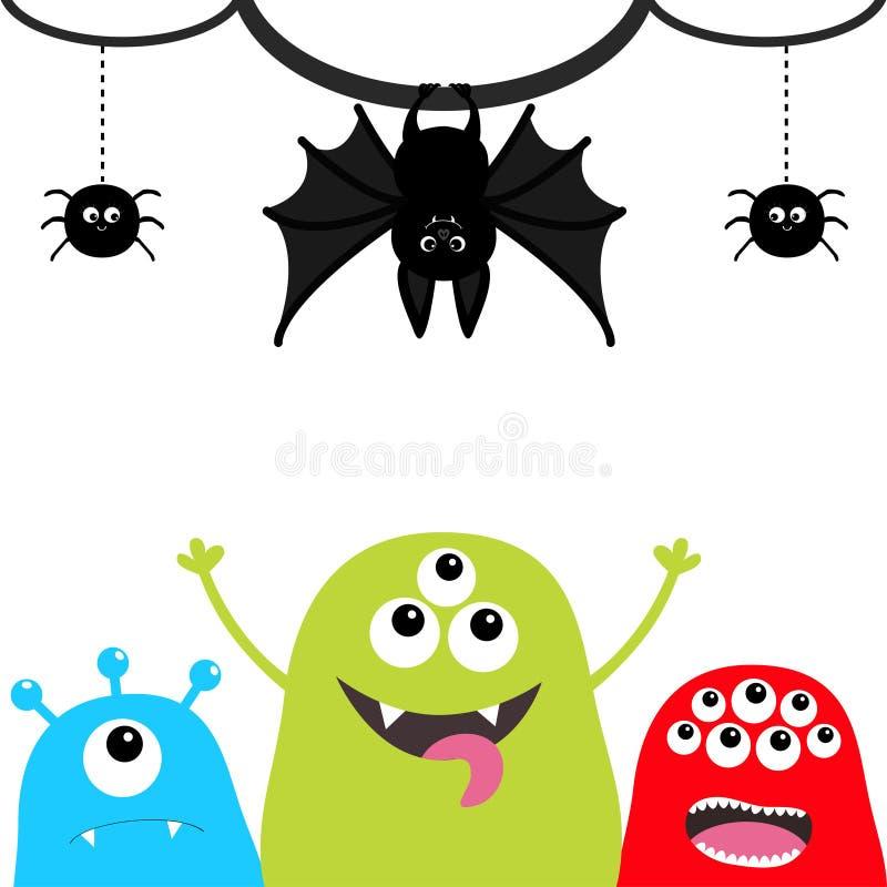 lyckliga halloween Konturuppsättning för tre monster Head framsida Hängande slagträ, spindelkryp på strecklinjen rengöringsduk Lä royaltyfri illustrationer