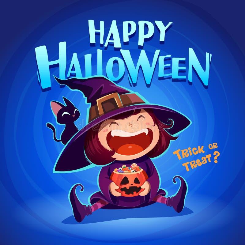 lyckliga halloween halloween liten häxa stock illustrationer