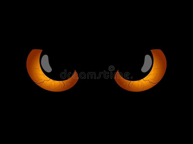lyckliga halloween Onda läskiga ögon, svarta elever Allhelgonaaftonbeståndsdel för design vektor stock illustrationer
