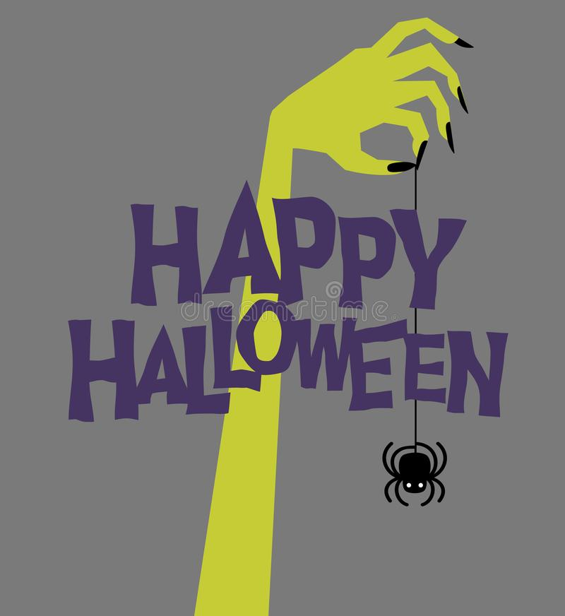 lyckliga halloween Retro levande dödhand som rymmer den kusliga svängande spindeln vektor illustrationer