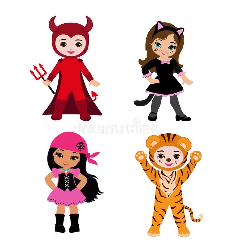 lyckliga halloween Roliga lite barn i färgrika dräkter stock illustrationer