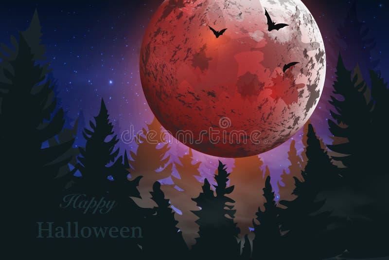lyckliga halloween _ Spöklikt kort för allhelgonaafton nattbakgrund med fullmånen, gravstenar, slagträn stock illustrationer