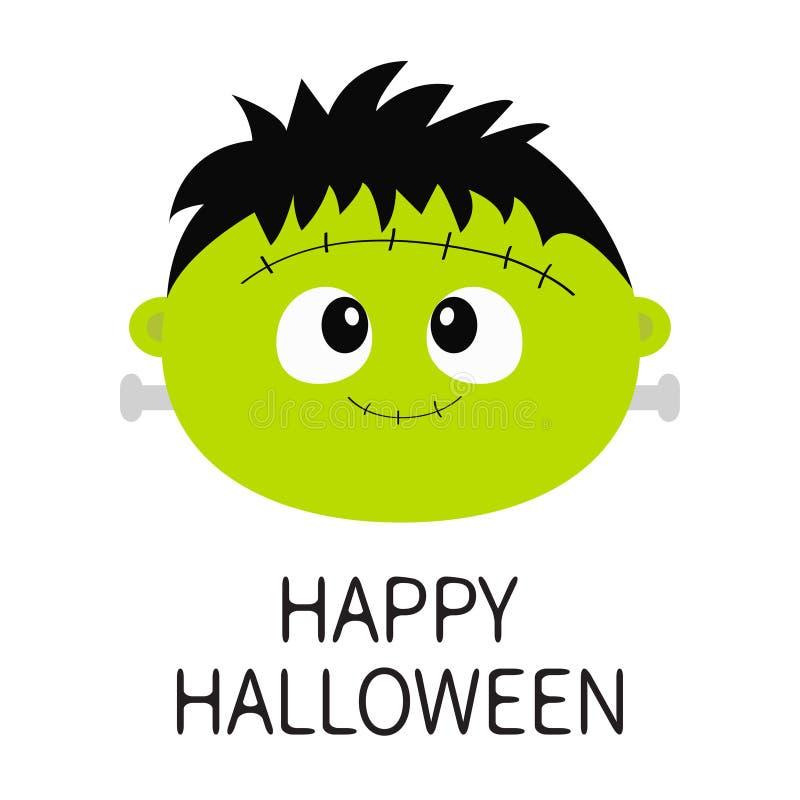 lyckliga halloween Symbol för framsida för runda för Frankenstein levande dödmonster Behandla som ett barn roligt spöklikt för gu royaltyfri illustrationer
