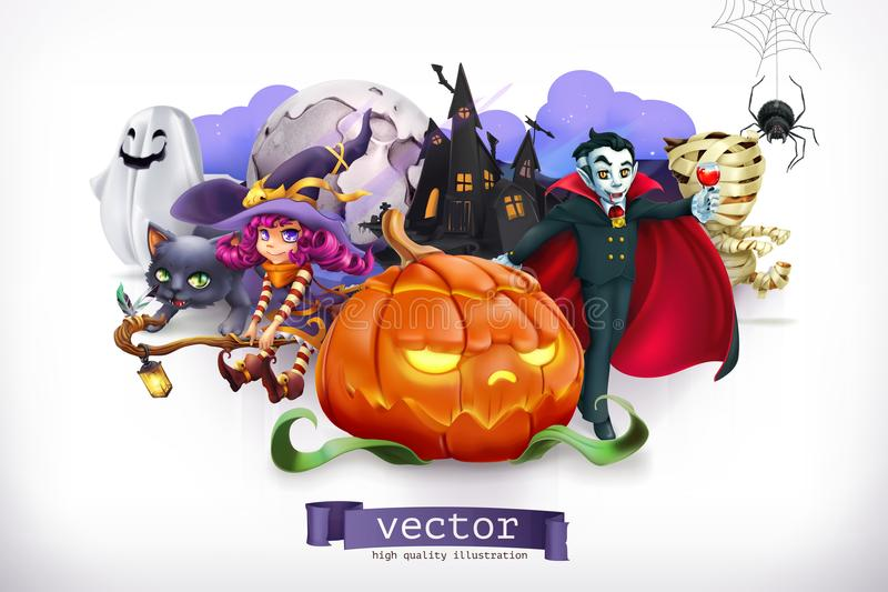 lyckliga halloween vektor för illustration 3d vektor illustrationer
