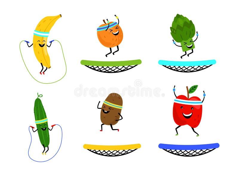 Lyckliga hoppa frukter och grönsaker Sund mat för vektortecknad film som isoleras på vit bakgrund stock illustrationer