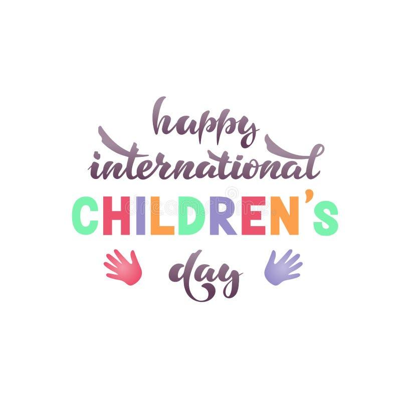 Lyckliga internationella barns dag vektor stock illustrationer