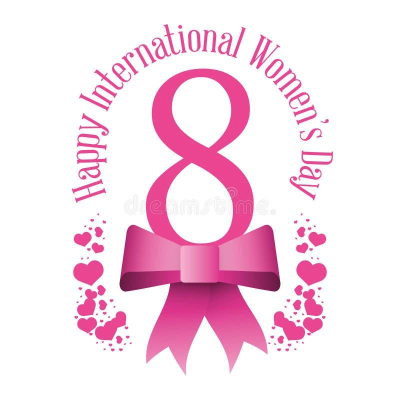 lyckliga internationella kvinnors hjärtor för pilbåge för dag åtta royaltyfri illustrationer