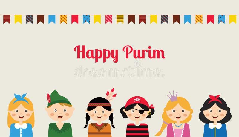 Lyckliga judiska barn i maskeradkläder tycker om Purim stock illustrationer