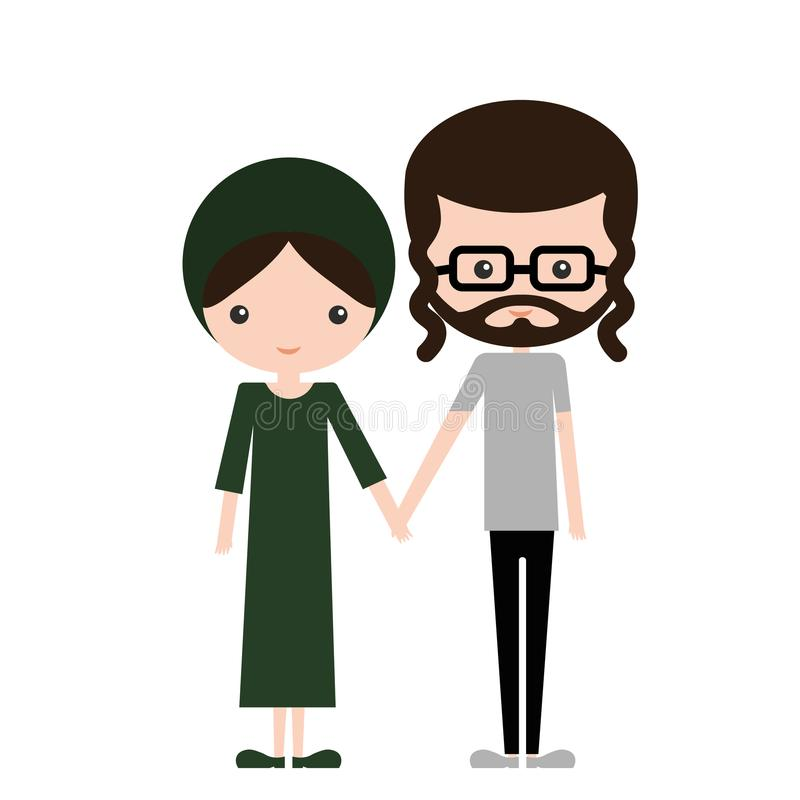 Lyckliga judiska par i traditionell designkläder royaltyfri fotografi