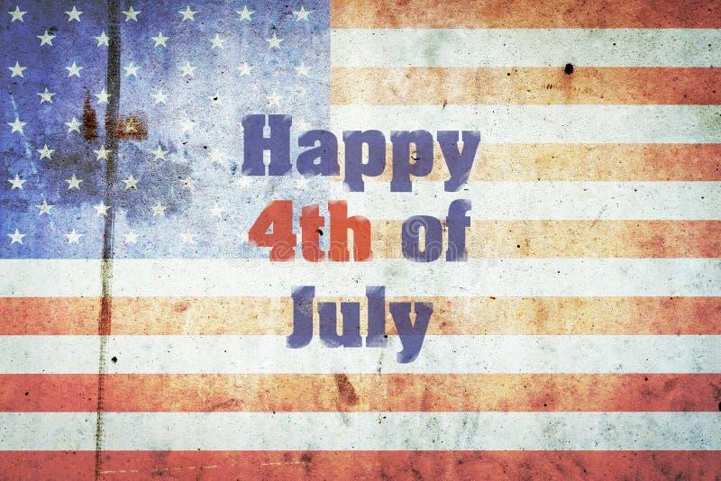 Lyckliga Juli 4th, inskriften på bakgrunden av USA-flaggan på en betongvägg SjälvständighetsdagenAmerika bakgrund royaltyfri foto